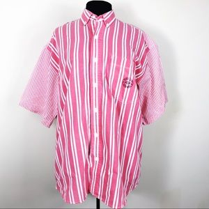 Vintage Bugle Boy Pink & White Striped Shirt Sz L